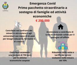 Emergenza Covid: aiuti straordinari a famiglie ed imprese